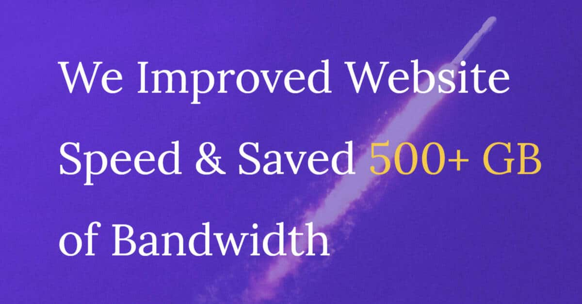 bandwidth saved for wirally website