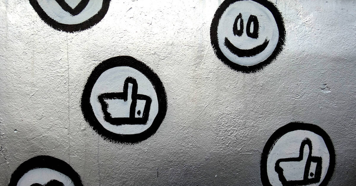 facebook banner with share like symbols