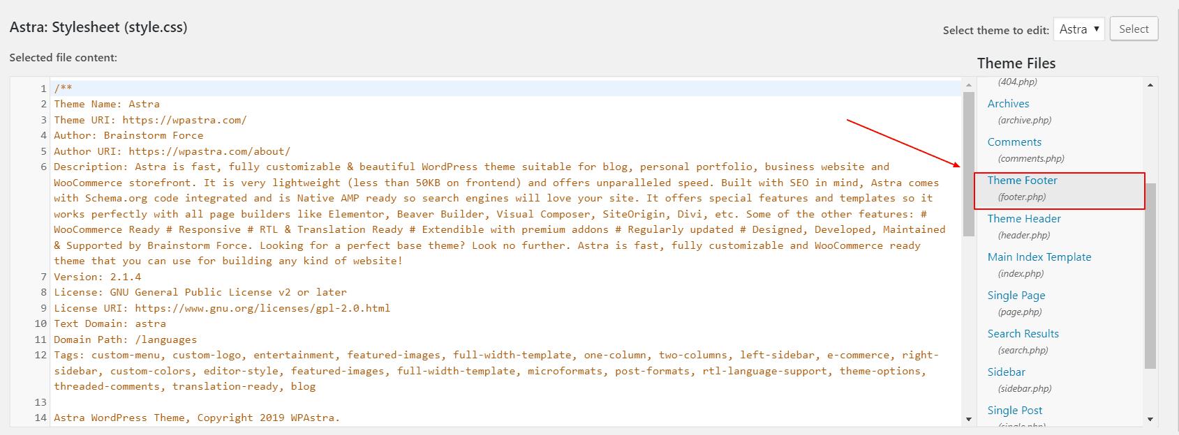 Editing The Footer Of WordPress In Theme Editor