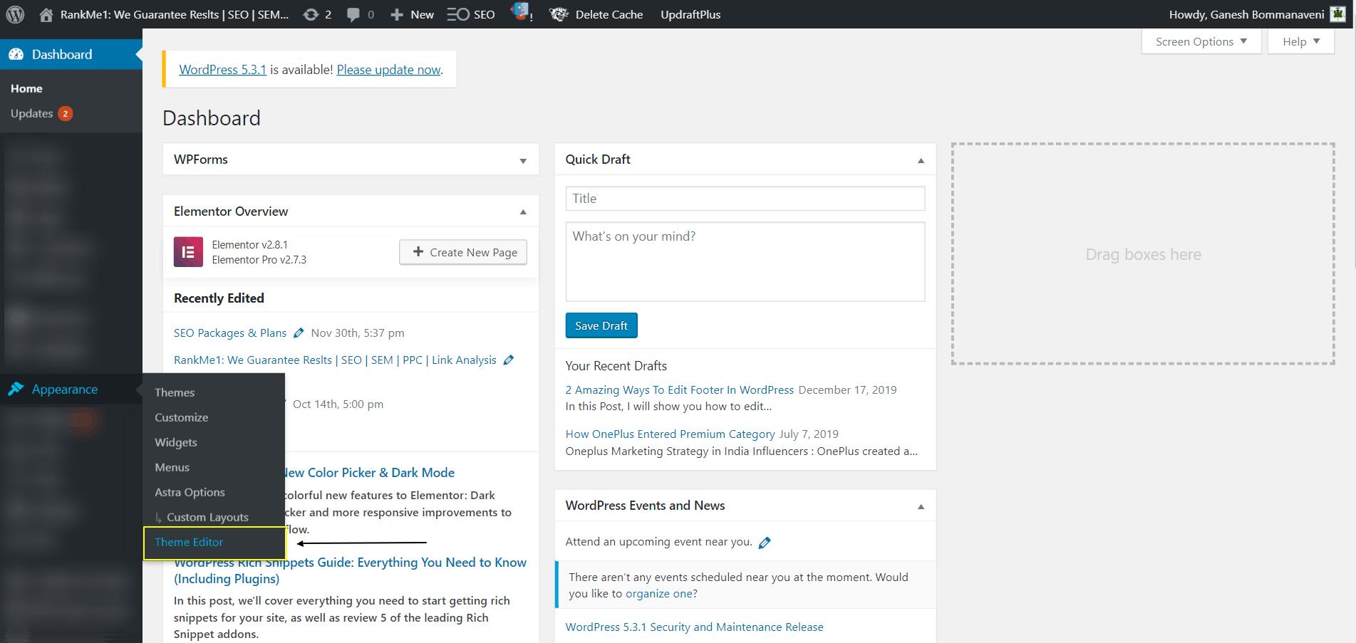 Screenshot Showing The Theme Editor Option In WordPress