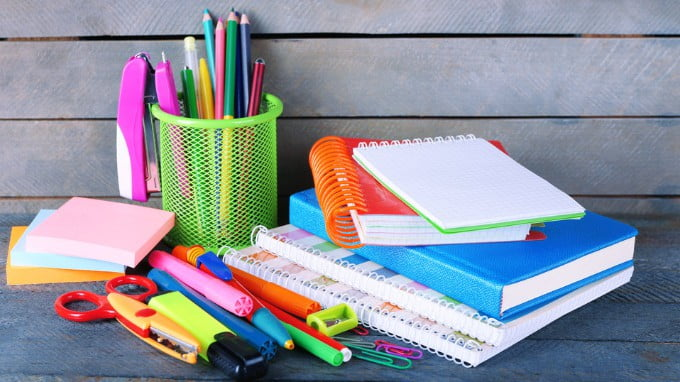 Stationery Books Pencils And Pens On A Table