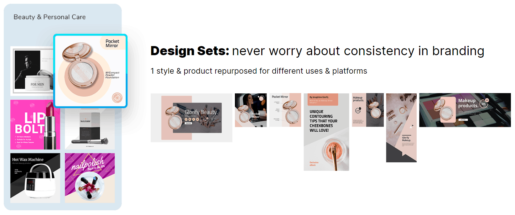Beauty And Personal Care Designs In Glorify App