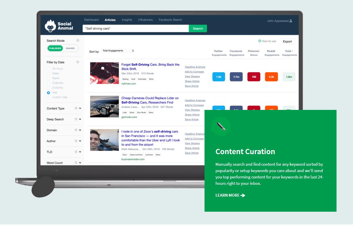 Social Animal App Content Curation Screenshot
