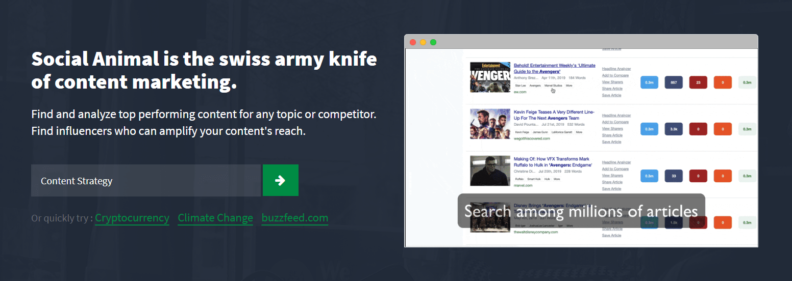 Social Animal Homepage Screenshot